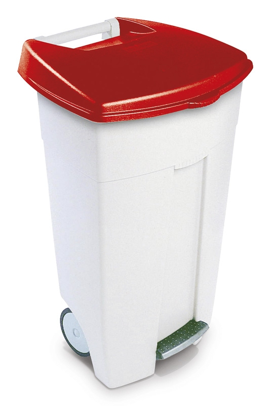 Eco Step-On container 106 ltr  wit, rood