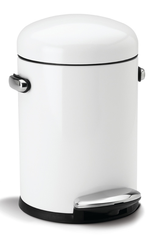 Mini Round Retro Step Can 4,5 ltr wit