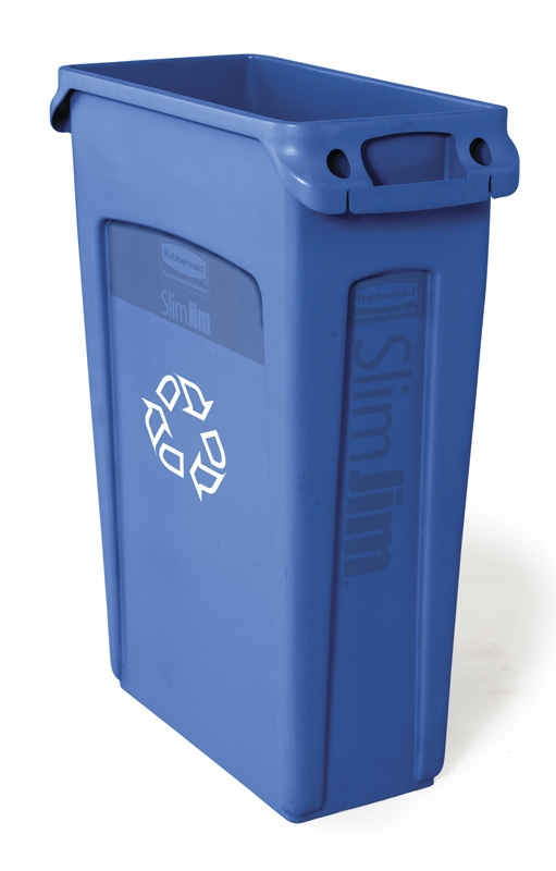 Slim Jim met luchtsleuven 87 ltr, blauw, recyclingsymbool